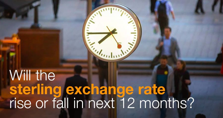 Will the sterling exchange rate rise or fall in next 12 months?