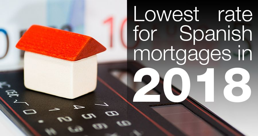 Lowest rate for Spanish mortgages in 2018